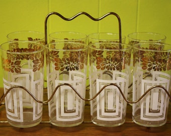 MCM Federal Drinking Glasses - Set of 8 - Gold/White with Gold Carrier