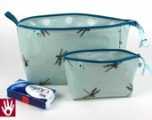Toiletries and cosmetics bag set / oilcloth inside and outside