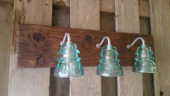 Insulator Glass Vanity Light : 24 Vintage Insulator 3 Light Vanity by recreatedlighting on Etsy