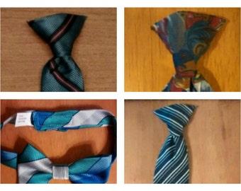 set of 4, tie, necktie, boy, vintage, clothing, accessories, clip on, bowtie