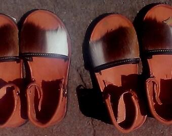Tribal slip on leather  sandals