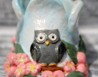 Owl and Cherry Blossom Baby Shoe, OOAK, Ceramic baby shoe, Baby Shower gift, Baby Shower centerpiece,