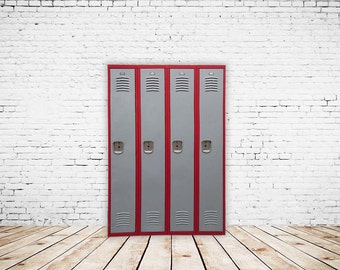 Vintage Two Toned Red and Gray Lockers