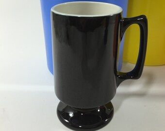 Black Pedestal Mug Restaurant China Mug Hall China 1873 Black and White Mug Heavy Diner Mug Black Diner Mug