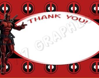 Deadpool 4x6 Thank You Card - Printable