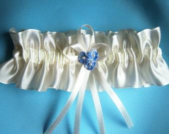 Ivory wedding garter bridal garter organza with something blue and swarovski pearls