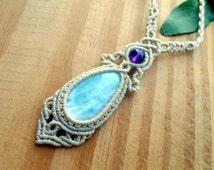 Larimar macrame necklace, healing jewelry, macrame stone, larimar jewelry, micro macrame, gemstone necklace, macrame jewelry, elven necklace