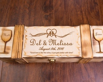Wedding Wine Box, Engraved Personalized , Ceremony Wine Display, Keepsake Gift, Personalized & Rustic, Love Letter Ceremony Wine Case W01