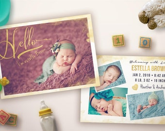 Gold - watercolour Birth Announcement Card - BA002 - 5x7 card - INSTANT DOWNLOAD