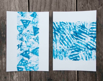 Set of 2 abstract handprinted postcards
