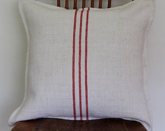 VINTAGE French Grain Sack Cushion with Red Stripes