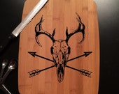 Deer Skull Laser Engraved Bamboo Cutting Board