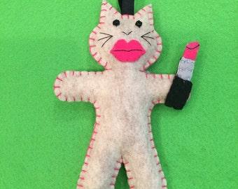 Felt LipstickCat Ornament