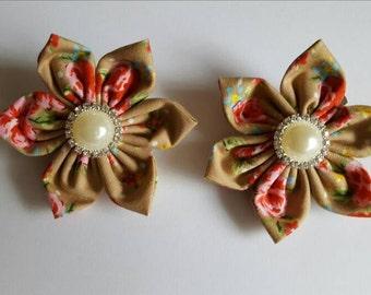 Flower hair clips, girls fabric flower hairclips, floral hair accessories, wedding hair accessories, hair accessories