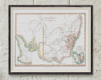 Early Vintage Map of Australia - British Colonies of Australian Map Print - 1848 -  Exploration of Australia - Map Poster