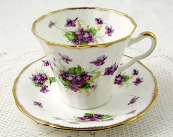 Vintage Tea Cup and Saucer by Mayfair, Purple Flowers, English Bone China, Teacup and Saucer