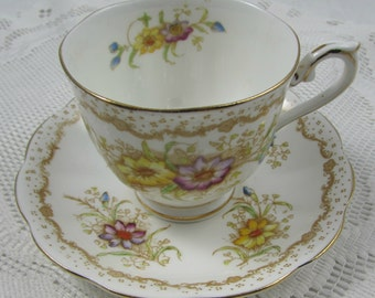 Vintage Royal Albert Tea Cup and Saucer, Bone China, Gem Pattern with Handpainted Flowers