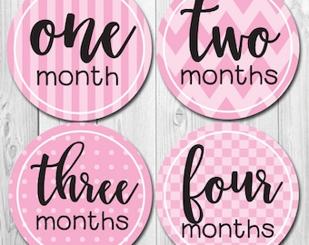 Monthly Baby Stickers, Baby Girl Month Stickers, New Baby Gift, Pink Stripes, Girl Monthly Baby Stickers, Months 1-12