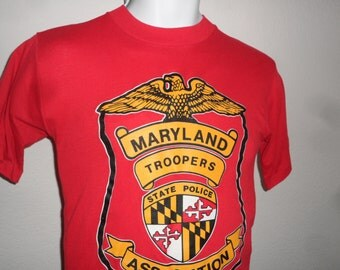 Vintage Original 1980s MARYLAND TROOPERS Association State Police Red T Shirt M