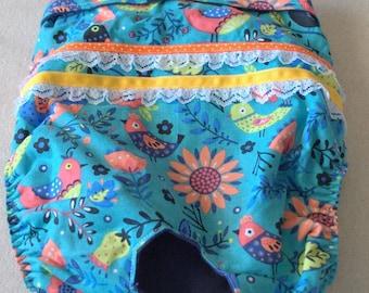 Dog diaper. Dog in season diaper. Dog panty. Blue Floral Vintage Birds. X-Large.