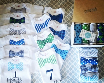 1 through 12 month Monthly Bodysuit Set (green/blue/grey color scheme) - 12 Month Outfit Set, 0-12 Month, Instagram Baby, Monthly Update