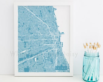 Chicago Map Chicago Art Chicago Map Art Chicago Print Chicago Printable Chicago City Art Chicago City Map Illinois Art
