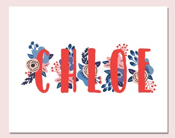Chloe Personalized Name Sign Party Decorations Adult Party Decorations Birthday Party Decorations Name Print Nursery Printable