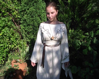Fairy linnen elven dress,medieval ,embroiders