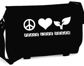 Messenger Bag Peace Love Vegan Stop animal Cruelty