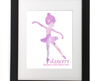 Watercolor Ballerina - Ballerina Print - Wall Art - Kids Decor - Nursery Decor - Watercolor Art - Dancer Print - Nursery Print - Girls Room