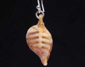 Honey Amber Glass Leaf Earrings - Sterling Silver - Handmade
