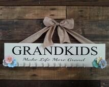 Grandkids sign, grandkids make life grand, grandkids wooden sign, custom wooden signs, custom wood signs, photo display, picture board