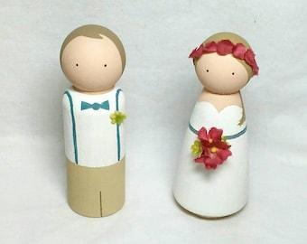 Custom Wooden Peg Dolls-Wedding Cake Topper Set