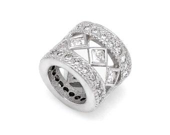 Diamond Pattern CZ European Beads Pave Spacer Charm For European Charm Bracelets, Diamond Beads, Diamond Charms #12-D