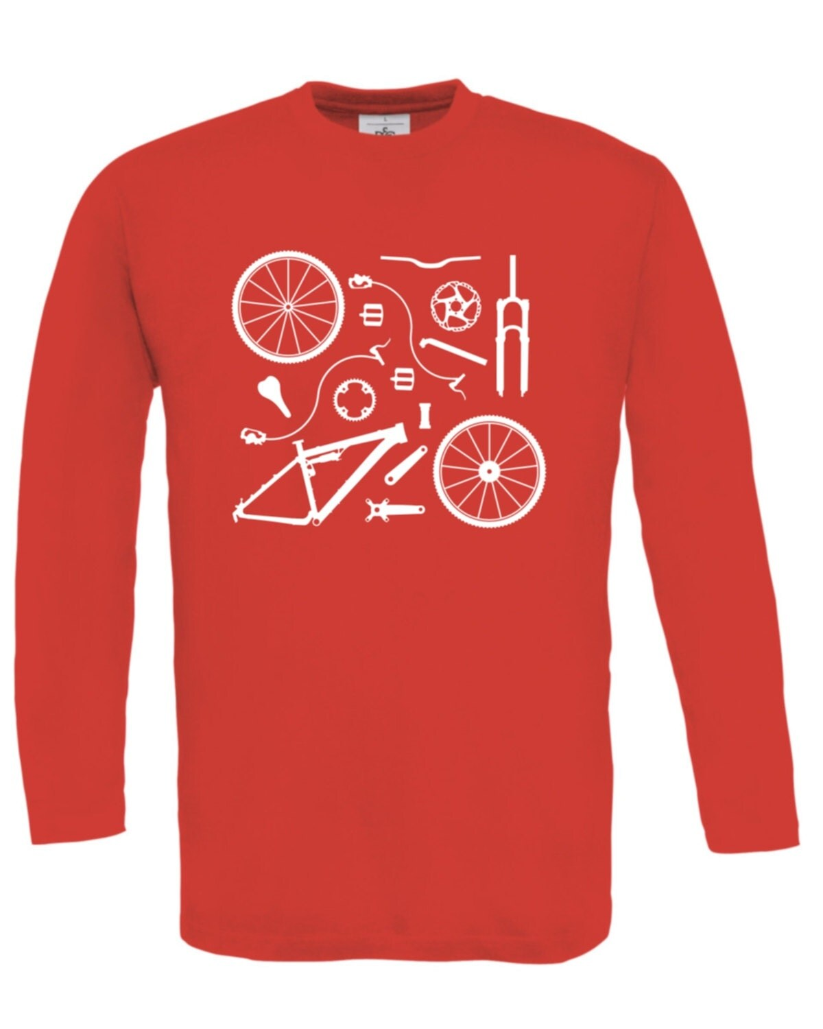 Full suspension bicycle parts graphic mens cotton long for Bike and cycle shoppe shirt