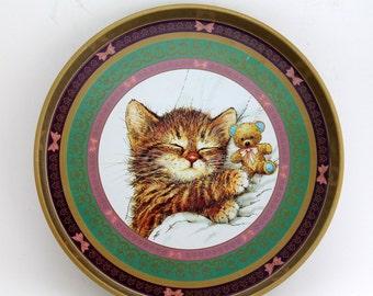 Vintage Tin Tray, Kitten, Giordano Tin Teddy Bear and  Kitty Cat Serving Tray, Metal Decorative Tray with Sleepy Kitten