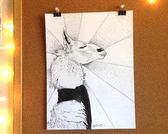 I'm a Llama   Original Pen & Ink Drawing 9X12