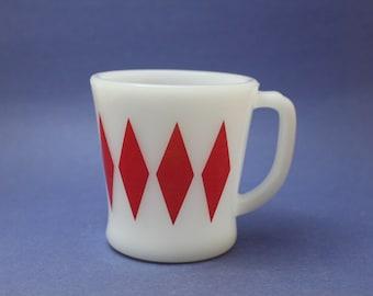 Fire King Red Diamond Mug