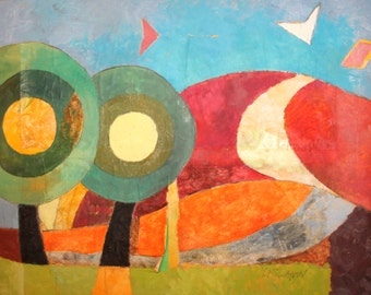 Vintage Abstract Oil Collage Painting Landscape Signed
