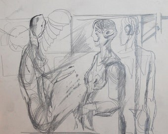 1980's Abstract Figures Portrait Pencil Drawing