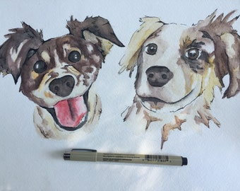 Double Pet Portrait, your illustration with both of your pups (or cats, if youre into that)