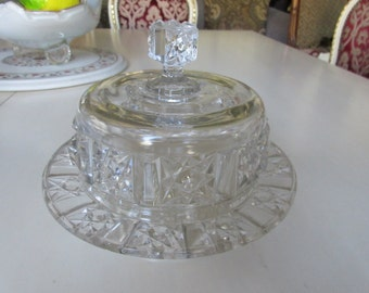 PRESSED GLASS CHEESE Plate with Dome