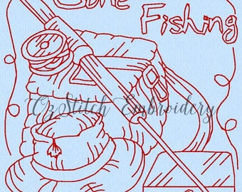 Machine embroidery redwork pattern.  Gone fishing 4.  Instant Download