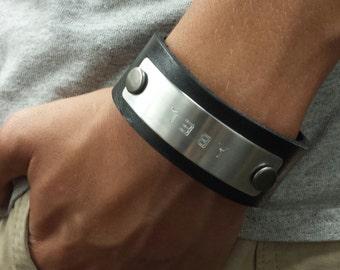 FREE SHIPPING-Men's Bracelet,Men's Leather Bracelet, Engraved Bracelet, Men's Personalized Black Leather Bracelet, Men Custom Wristband