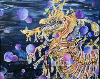 "Original ""Seadragon Bubbler"" 20x24"" acrylic and spray paint on canvas, ultraviolet nautical energy"