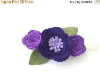 Felt flower headband - purple flower - felt flower - Sophia