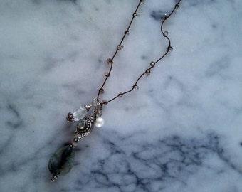 knotted quartz charm necklace