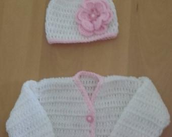 Baby girl sweater, crochet sweater, baby girl hat,crochet girl hat,newborn girl sweater, ready to ship