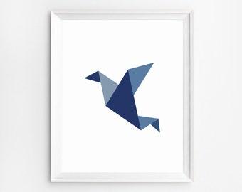 Origami Print, Nursery Print, Children Print, Baby Decor, Gender Neutral, Children Wall Art, Nursery Art, Bird, Nursery Wall Art, Navy Blue