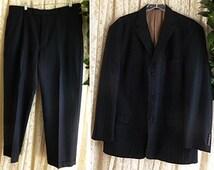 Vintage 44 46 Reg Long 80s PERRY ELLIS WOOL Suit 2-Piece Pinstripe Cuffed Trousers Gangeter Prep Business Formal Wedding Fully Lined
